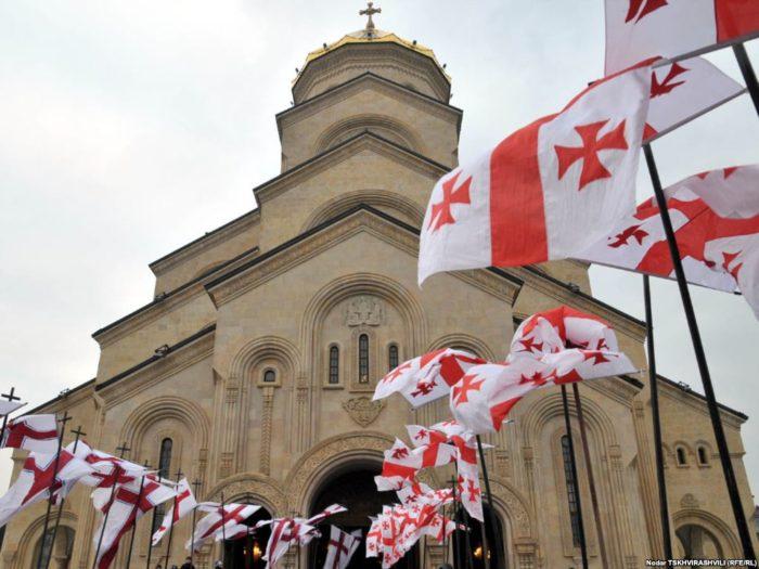 флаг Грузии и церковь