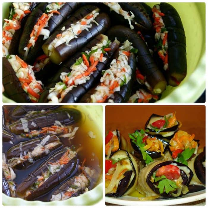 Квашеные баклажаны, наполненные овощами